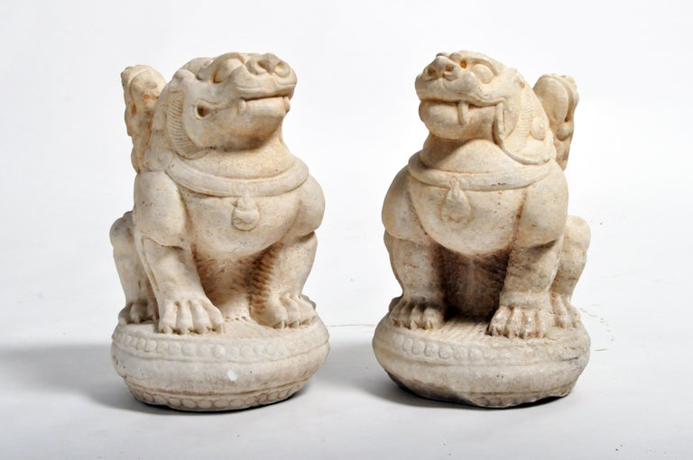 Pair of Carved Marble Fu Dogs on Pedestals For Sale 15