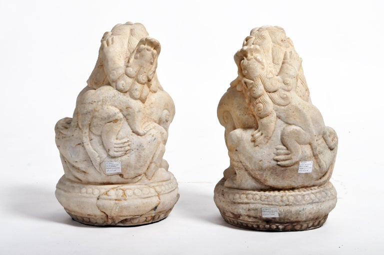 Pair of Carved Marble Fu Dogs on Pedestals In Good Condition For Sale In Chicago, IL