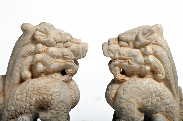 Pair of Carved Marble Qilins on Pedestal For Sale 10