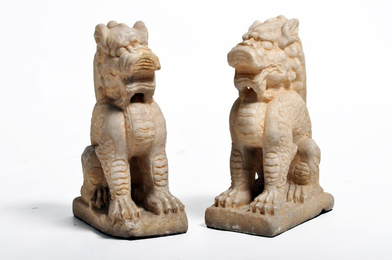 Chinese Pair of Carved Marble Qilins on Pedestal For Sale