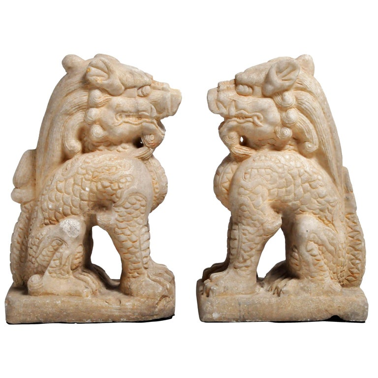 Pair of Carved Marble Qilins on Pedestal For Sale