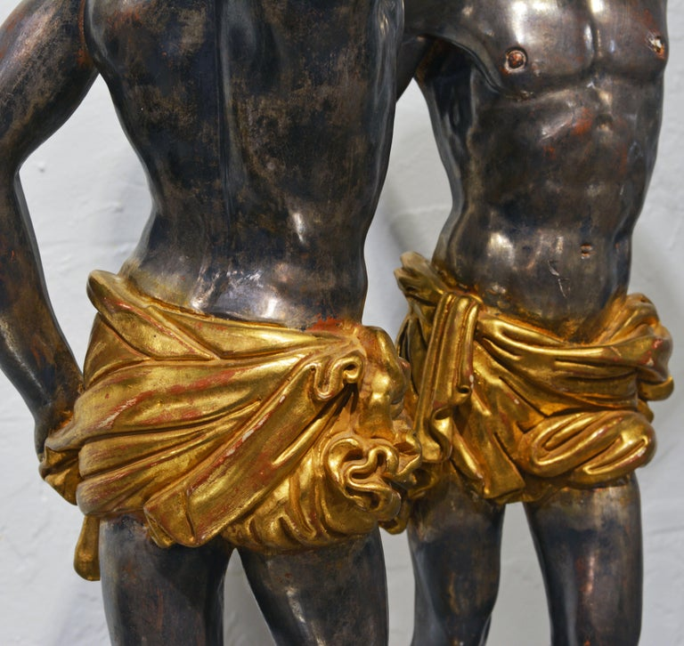 Pair of Carved Midcentury Italian Table Lamps in the Form of Male Orientals For Sale 3