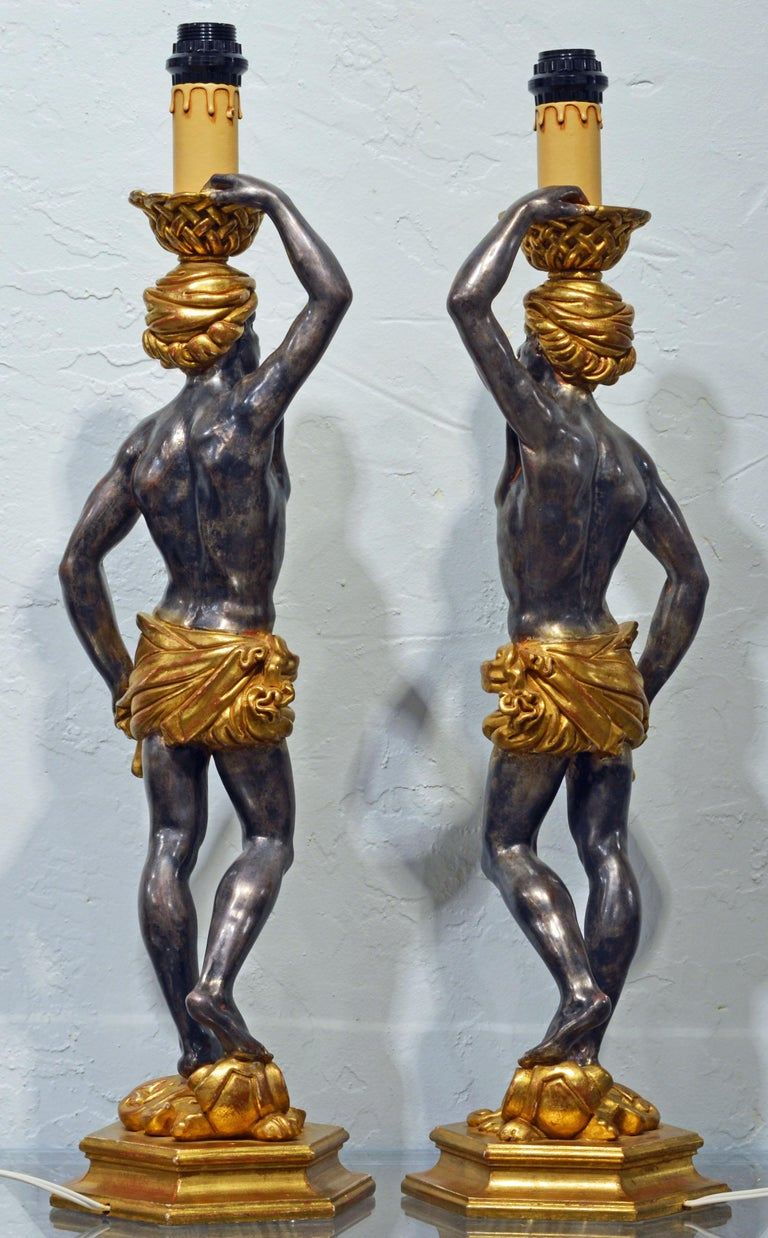 Baroque Pair of Carved Midcentury Italian Table Lamps in the Form of Male Orientals For Sale