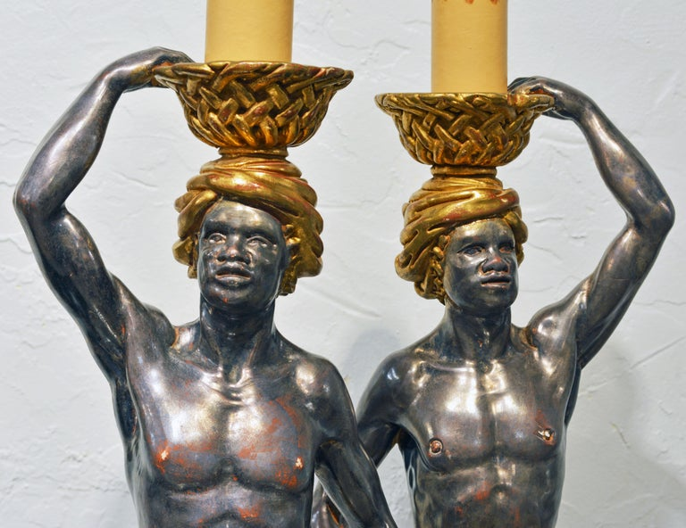 Gilt Pair of Carved Midcentury Italian Table Lamps in the Form of Male Orientals