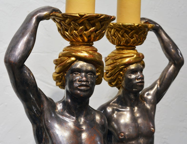 Pair of Carved Midcentury Italian Table Lamps in the Form of Male Orientals 1