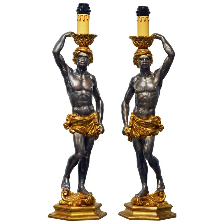 Pair of Carved Midcentury Italian Table Lamps in the Form of Male Orientals For Sale