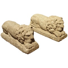 Pair of Carved Nenfro Stone Lions from Lazio, Italy