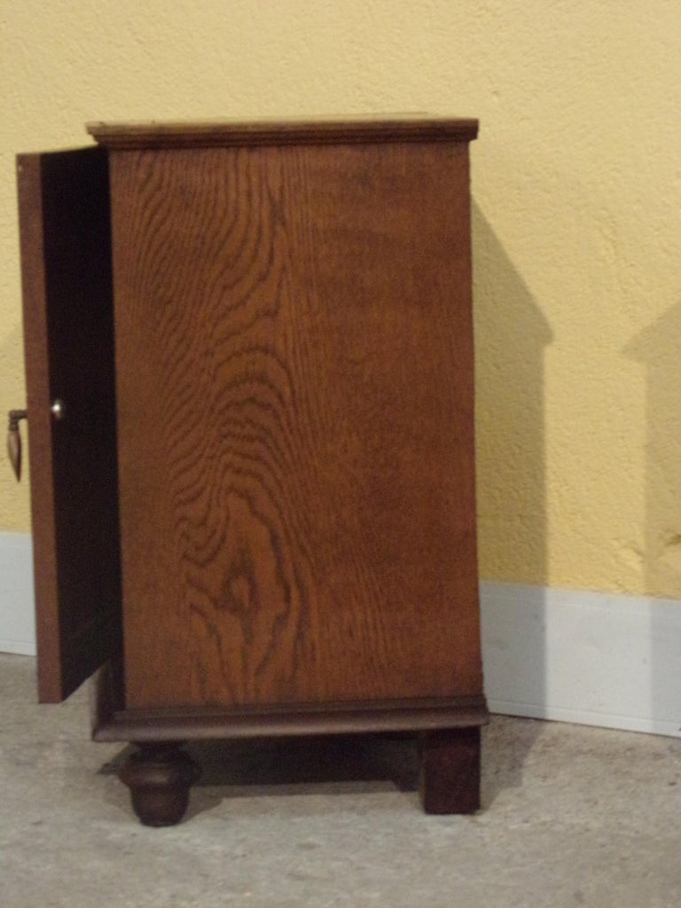 French Pair of Carved Oak Bedside Cabinets For Sale