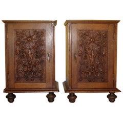 Pair of Carved Oak Bedside Cabinets