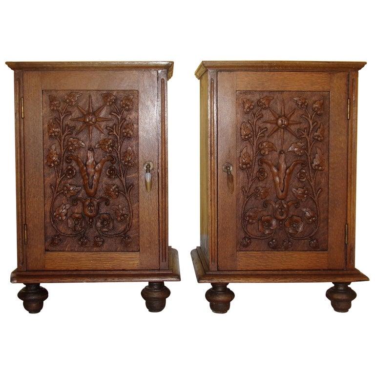 Pair of Carved Oak Bedside Cabinets For Sale