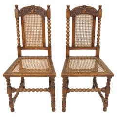 Pair of Carved Oak Bobbin Leg Cane Seat Occasional Chairs, Scotland 1910, B2453