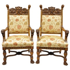 Pair of Carved Oak Northwind Face and Lion Head Armchairs RJ Horner Attributed
