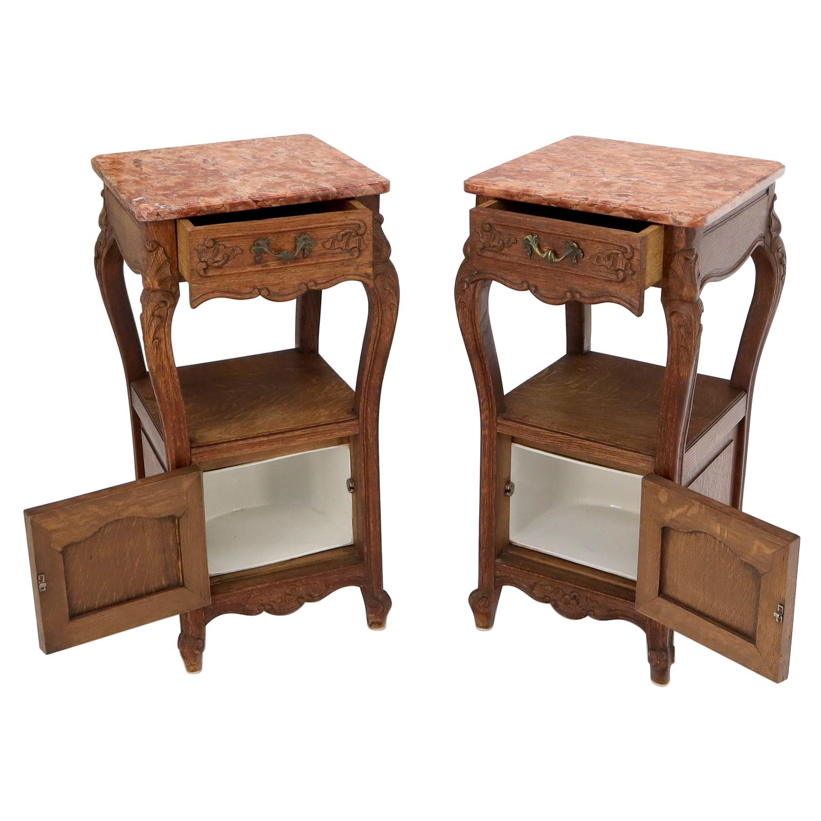 Pair of carved oak rouge marble tops nightstands end tables