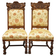 Pair of Carved Oak Winged Griffin Paw Foot Dining Chairs Attributed RJ Horner