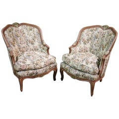 Pair of Carved Painted French Louis XV Tub Style Bergere Chairs, Circa 1940
