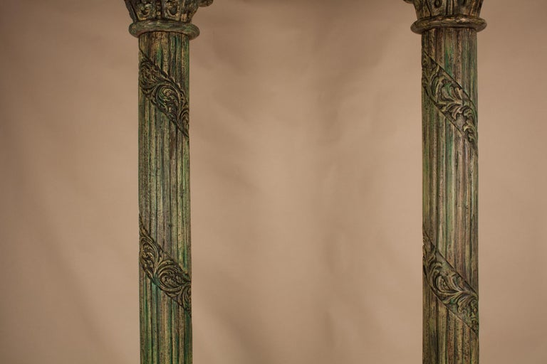 Anglo-Indian Pair of Carved, Painted Wood Columns from India For Sale