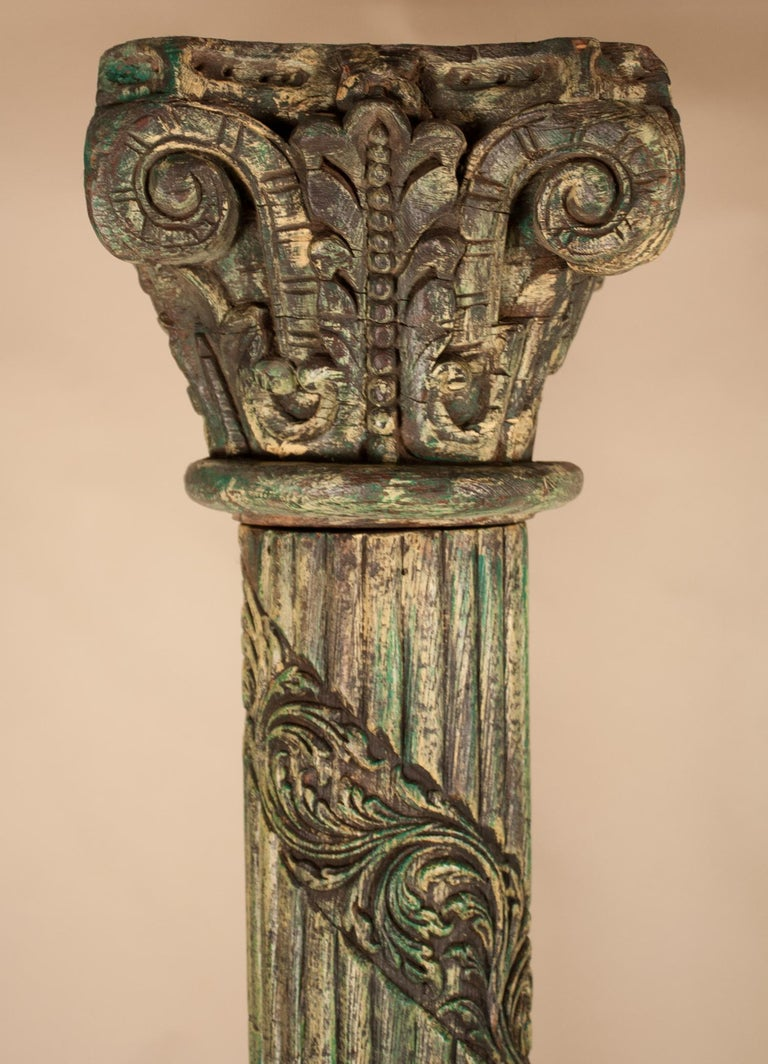 Pair of Carved, Painted Wood Columns from India In Good Condition For Sale In Shelburne Falls, MA