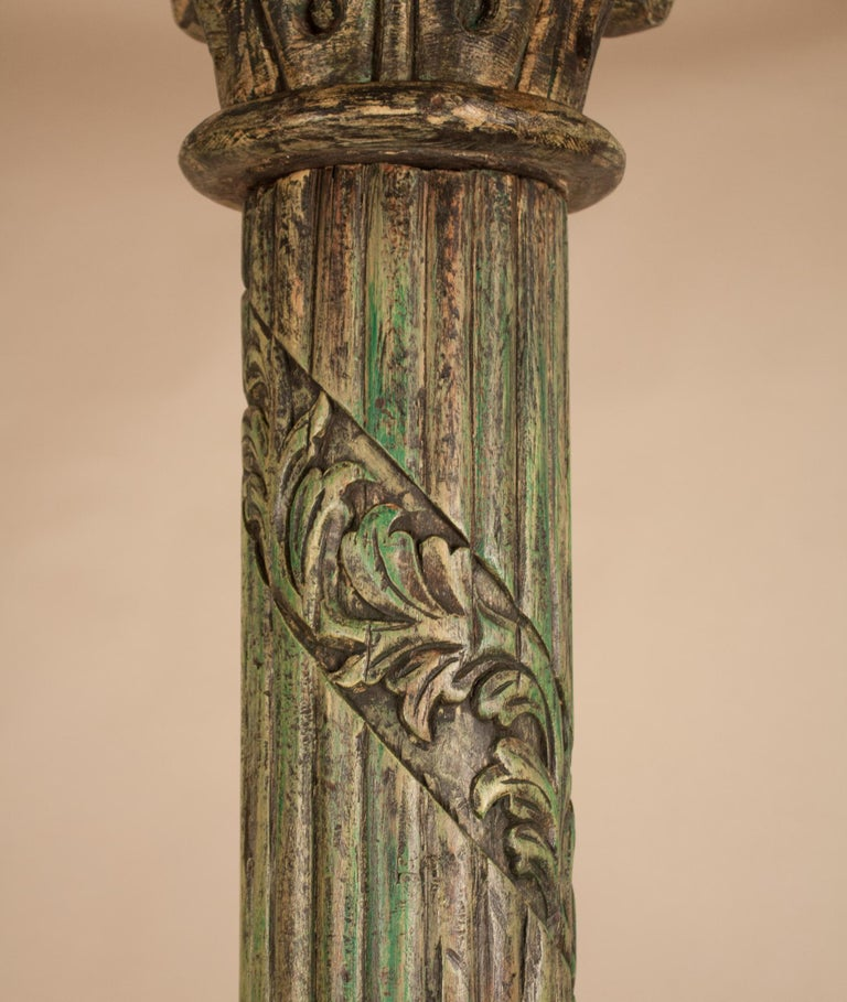 Pair of Carved, Painted Wood Columns from India For Sale 1