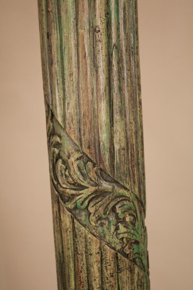 Pair of Carved, Painted Wood Columns from India For Sale 2