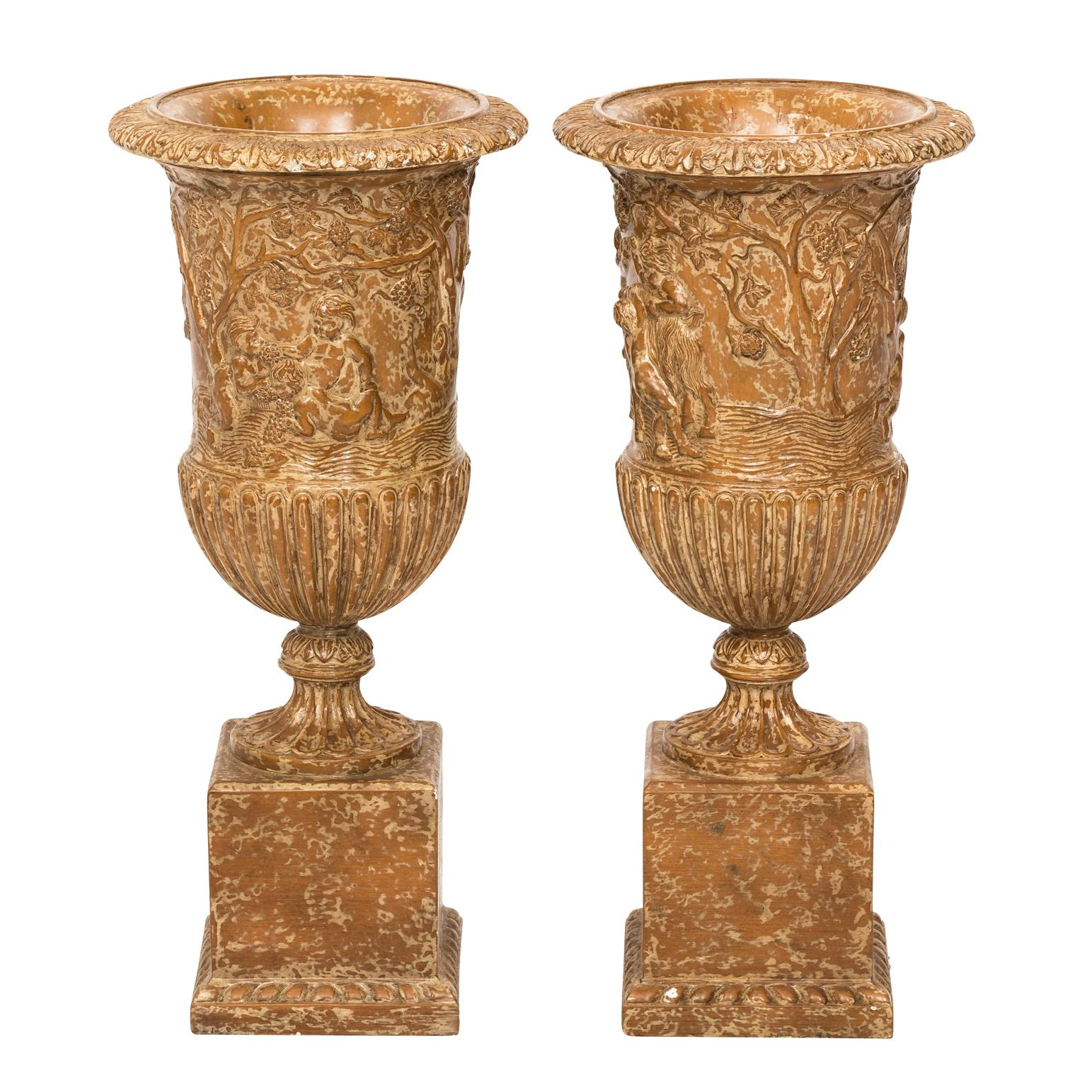 Pair of Carved Painted Wooden Urns