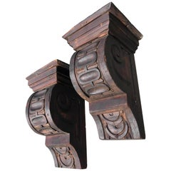 Pair of Carved Pine Brackets