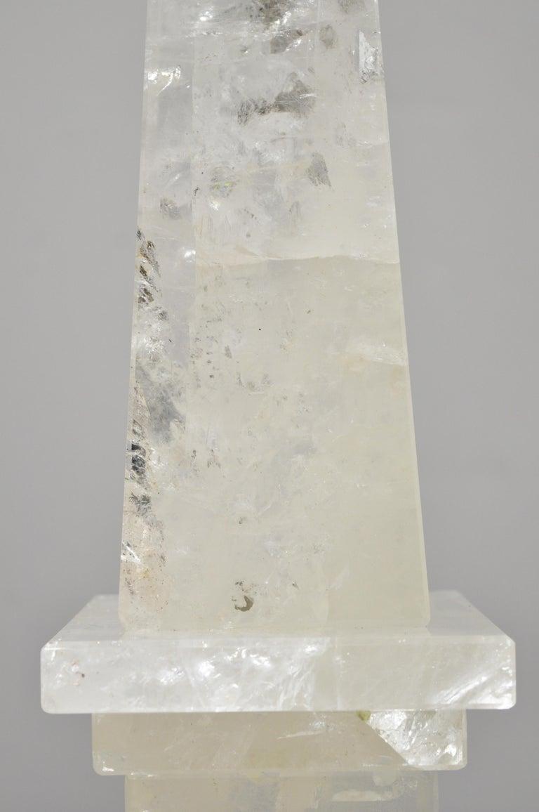 20th Century Pair of Carved Rock Crystal Quartz Obelisk For Sale