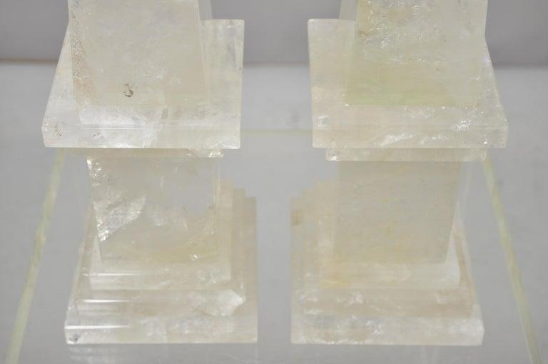 Pair of Carved Rock Crystal Quartz Obelisk For Sale 3