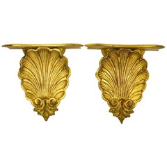 Pair of Carved Rococo Rocaille Giltwood Shell Brackets