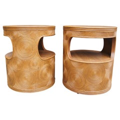Pair of Carved Round End Tables