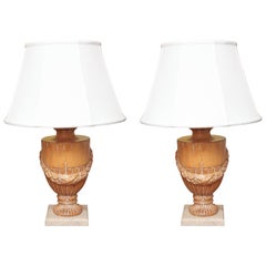 Pair of Carved Solid Wood Urns Mounted as Lamps