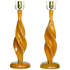 Pair of Carved Spiral Midcentury Lamps