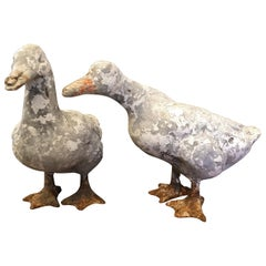 Pair of Carved Stone Ducks with Iron Webbed Feet, circa 1930s