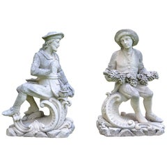 Pair of Carved Stone Italian Figures