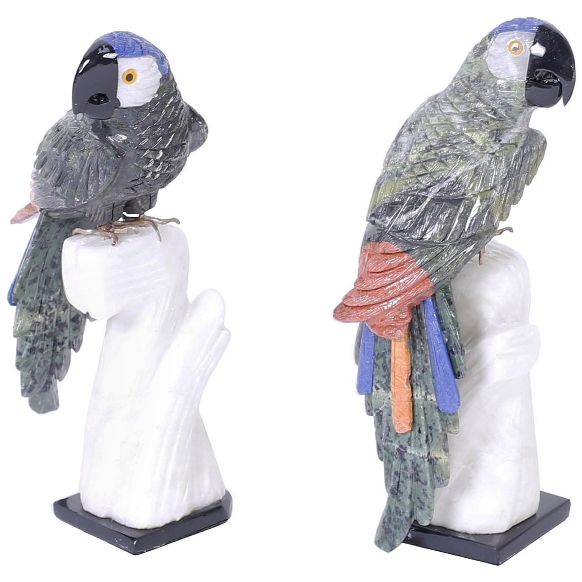 Pair of Carved Stone Parrots