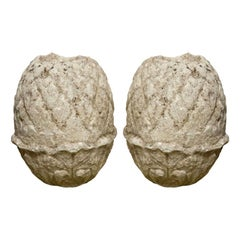 Pair of Carved Stone Pineapple Finials