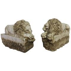 Pair of Carved Stone Replica Lions originally by Antonio Canova