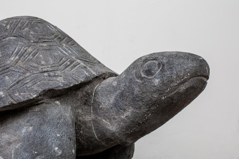 Pair of Carved Stone Turtle Sculptures For Sale 4