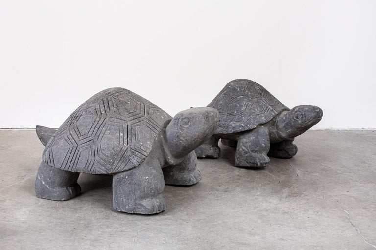 Pair of Carved Stone Turtle Sculptures For Sale 10
