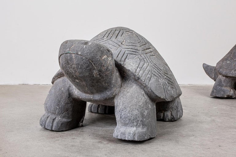 Mid-Century Modern Pair of Carved Stone Turtle Sculptures For Sale