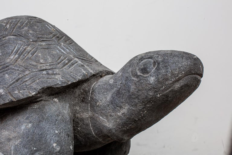 Asian Pair of Carved Stone Turtle Sculptures For Sale
