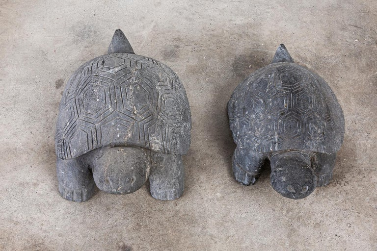 Pair of Carved Stone Turtle Sculptures In Good Condition For Sale In Oakland, CA