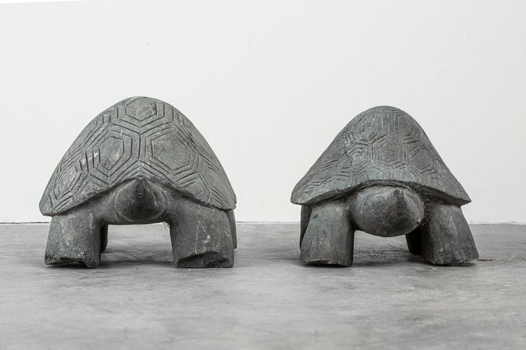 Pair of Carved Stone Turtle Sculptures For Sale 2