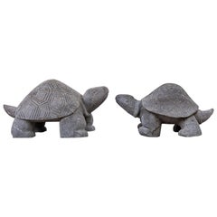Pair of Carved Stone Turtle Sculptures