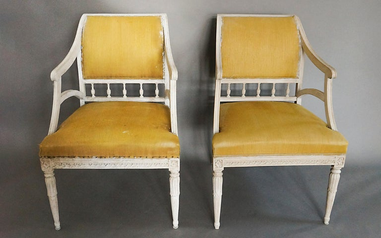 Neoclassical Pair of Carved Swedish Armchairs For Sale