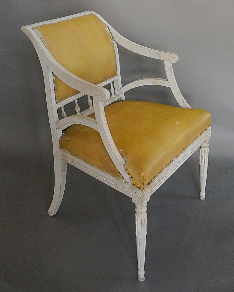 Pair of Carved Swedish Armchairs In Good Condition For Sale In Sheffield, MA