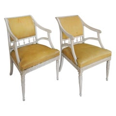 Pair of Carved Swedish Armchairs