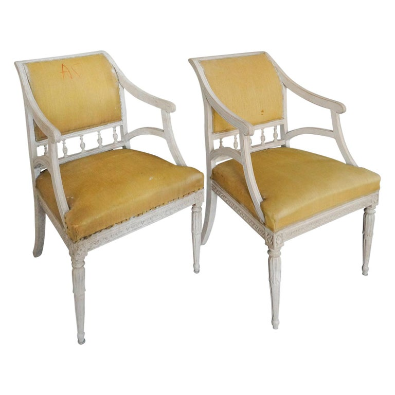 Pair of Carved Swedish Armchairs For Sale