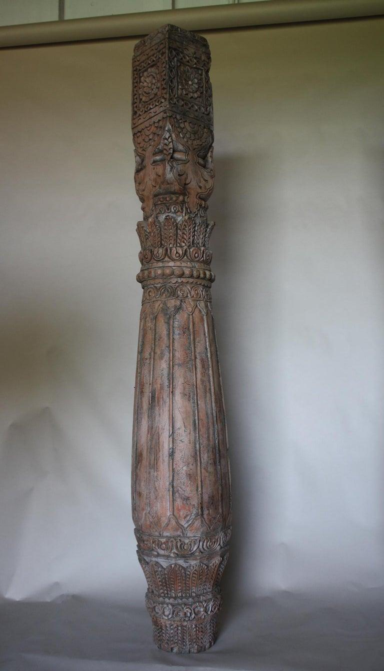 Anglo Raj Pair of Carved Teak Wood Columns For Sale