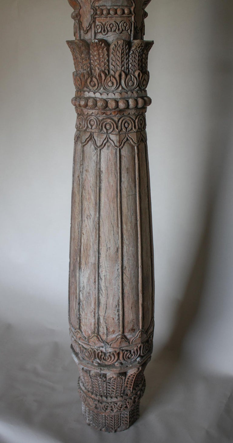 Indian Pair of Carved Teak Wood Columns For Sale