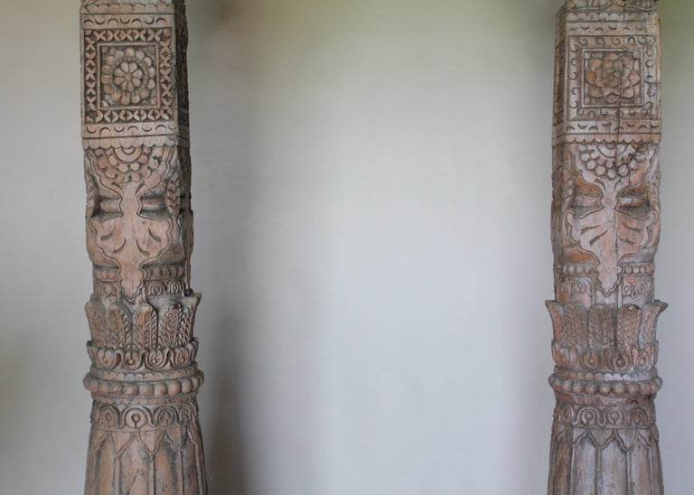Pair of Carved Teak Wood Columns In Good Condition For Sale In Shelburne Falls, MA